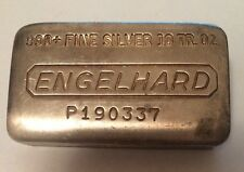 10 Troy Oz ENGELHARD 999+ FINE SILVER BAR SERIAL #P190337