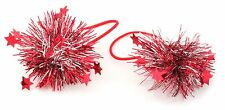 Zest 2 Christmas Tinsel Hair Bobble Bands with Small Red Stars Silver & Red