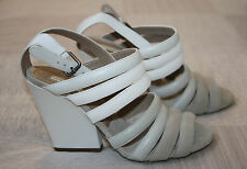 BNIB Dries van Noten SS/2011 Leather Heels in White & Cement - EU 36.5 / UK 3