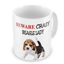 Beware Crazy BEAGLE LADY Funny Novelty Gift Mug