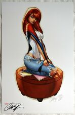 J SCOTT CAMPBELL signed MARY JANE STATUE ART PRINT MARVEL SPIDER-MAN SIDESHOW
