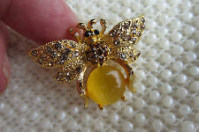 VINTAGE STYLE AMBER CUBIC ZIRCONIA GOLDTONE YELLOW BEE BUG BROOCH PIN