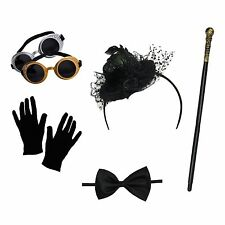 Women's Steampunk Costume Set (Hat Headband, Goggles, Gloves, Cane, Bow Tie)
