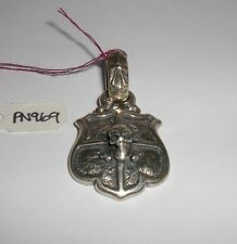 BILL WALL PN969 SHIELD SKULL & CROSS BONES PENDANT 925 STERLING SILVER BWL