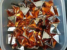 Orange 12mm triangle sew on stich on JEWEL GEM CRYSTAL RHINESTONE DANCE