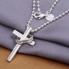 Damenhalskette Anhänger Kreuz Ring 45cm Halskette pl. mit  Sterlingsilber