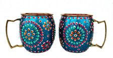 2 Wine,Vodka,Beer,Cocktail,Juice Mug Cup Pure Copper Outer Hand Painted Art Work