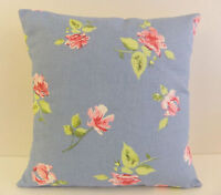 VINTAGE SHABBY CHIC-STYLE FLORAL PINK ROSES BLUE GREEN LEAVES  CUSHION COVERS