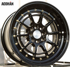 AODHAN AH04 16X8 4X100/114.3 ET15  73.1 FULL BLACK WITH GOLD RIVET (SET OF 4)