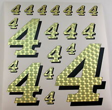 Racing Numbers Number 4 Decal Sticker Pack Gold Black for 1/8 1/10 RC models S01