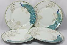 222 Fifth Peacock Garden Teal Fine China Porcelain Dinner Plates Set of Four New