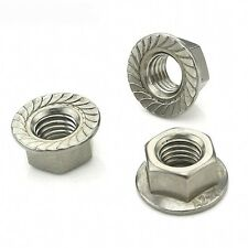 M10 x 1.0mm Fine Pitch Serrated Flange Nuts Hex Lock Nuts 304 A2 Stainless Qty 2