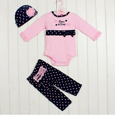 3pcs Newborn Baby Girl Clothes Cap Hat+Bodysuit+Pants Trousers Set Outfit 0-3M