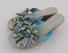 Lazamani Sandale 39 blau türkis Pantolette Leder Kork wedge neu