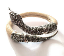Chameleonic Marcasite Silver 925 Stingray Cream Leather Coiled Snake Bangle NEW