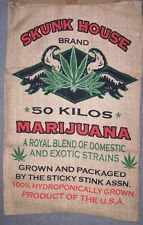 SKUNK HOUSE BRAND  BURLAP BAG confederate pot leaf hippie sack