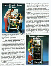 PUBLICITE ADVERTISING 1016  1980   Lincoln  les réfrigérateurs & congélateurs