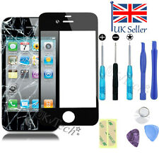 Front Screen Glass Lens Replacement Repair Kit + Adhesive for iPhone 4 4S Black