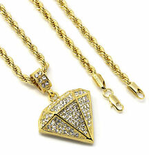 "Mens 14k Gold Plated Rapper Jewelry Shape Cz Pendant Hip-Hop 24"" 4mm Rope Chain"