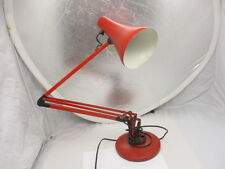 Vintage Industrial Desk Lamp Adjustable Workshop Light Made England Red Retro