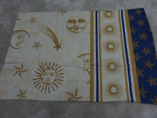 Sun moon shooting stars beige blue gold crafts remnant fabric piece 70x45cm