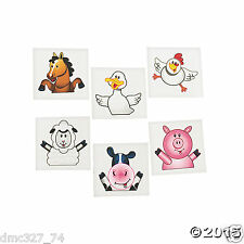 72 FARM Animals Barnyard Country Cowboy Everyday Party Favors Temporary Tattoos