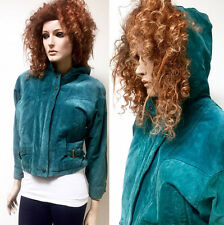 RARE Vintage 80s Cropped Boho Jacket Teal Green Suede Coat Leather Hood Bomber S