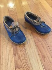 LL Bean Boots Low Ankle Leather Blue Womens Size 7 Wide   Fit Like 8