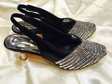 Size 4 Ladies Indian Bollywood Bridal Shoes Heels Slip OnSandals Black Silver S9