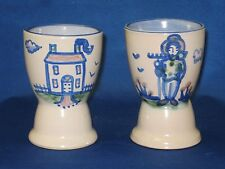 """2 M A Hadley Stoneware Pottery Country Collection """"House"""" & """"Farmer"""" EGG CUPS"""