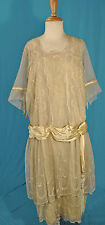 ANTIQUE DRESS 1925 FINE WHITE TULLE MACHINE EMBROIDERED TIERED GARDEN TEA DRESS