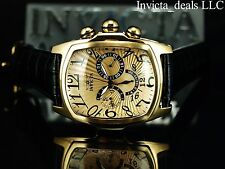Invicta Men's Dragon Lupah SWISS Parts Quartz Gold Tone Leather Strap SS Watch
