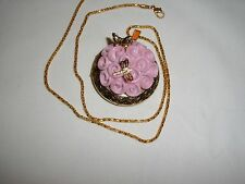 """PORCELAIN ANTIQUE GOLD 3D FLOWER PICTURE LOCKET BUTTERFLY DRAGONFLY W/ 22"""" CHAIN"""