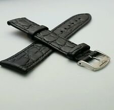 LONGINES,GENUINE,FLAT CROC LEATHER STRAP 18MM BLACK STAINLESS STEEL BUCKLE