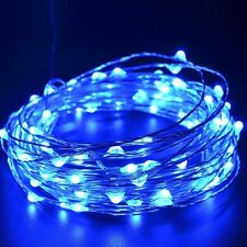 2M 20LED Button Battery Powered Silver Copper Wire Mini Fairy String Lights Blue