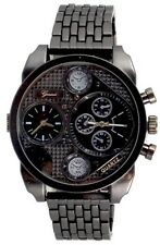 Dual Time Black Watch Metal Mens Geneva Fashion Designer