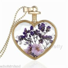 1 Pc Purple Dried Flowers Necklace Stylish Heart Pendant Gold Chain New Jewelry