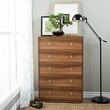 Dressers with Drawers 5 Chest Tall Bedroom Lingerie Furniture Wood Cabinet Brown