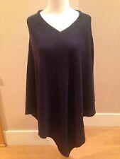 CASHMERE Fine Wool NAVY BLUE V-Neck Poncho Wrap Topper One Size NWT