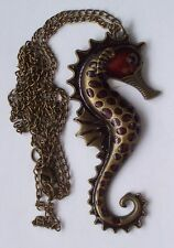 SEA HORSE NECKLACE...Red & Copper...The chain measures 64cm...NEW ITEMS