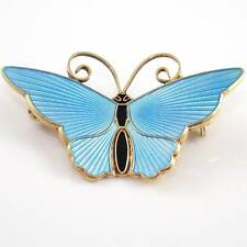 David Andersen Norway Sterling Silver Blue Enamel Butterfly Pin Brooch