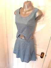 ❤ AFENDS Gorgeous Ladies Size 10 Blue Denim Effect Pinafore Style Dress