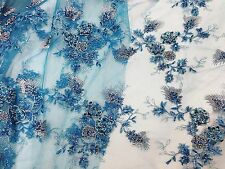 "TURQUOISE MESH W/SILVER EMBROIDERY SEQUINS HAND BEADED LACE FABRIC 52"" WIDE 1 YD"