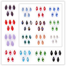 10x20mm Teardrop Charms Faceted Necklace Pendant Glass Crystal Beads 40 Colors
