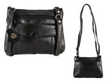 WOMEN'S ELEGANT REAL SOFT LEATHER SHOULDER/CROSS BODY BAG  BLACK NEW SMALL
