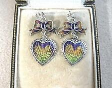 Art Nouveau Inspired Sterling Silver & Enamel Heart/Bow Drop Earrings
