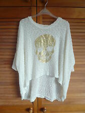 WHO's WHO GOLD SKULL LOOSE FITTING LADIES JUMPER (MEDIUM) - EXC