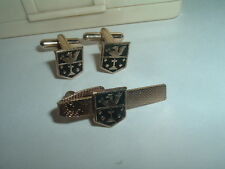 VINTAGE LION PASSANT AND GERMAN CROSS CUFFLINKS N TIE CLASP SET IN GIFT BOX