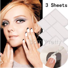 3Sheets Strip Tape French Manicure Tip Guides DIY Stickers Nail Art Toes Tools