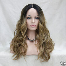 Heat Ok Quality Ombre Black w/ Golden Brown&Blond Wavy Short-Lace Front Long Wig